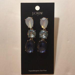 J Crew Drop Dangle Blue Crystal Earring NWT $39.50